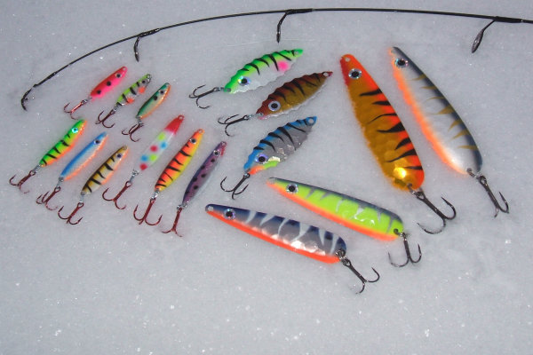 Rj lures hand crafted musky walleye bass trout and for Ice fishing trout lures